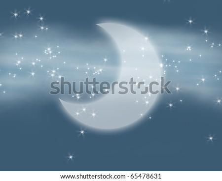 Milky Way, Stars, and Half Moon Fantasy Illustration