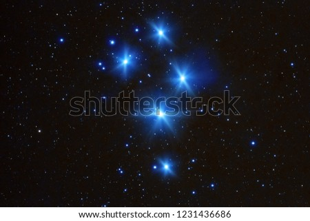 Milky Way stars Pleiades photographed with astronomical telescope. My astronomy work.