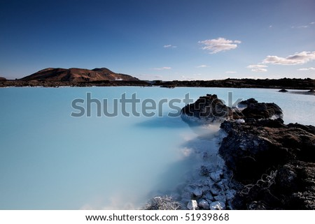 Milky white and blue water of the Blue Lagoon geothermal baths in Iceland