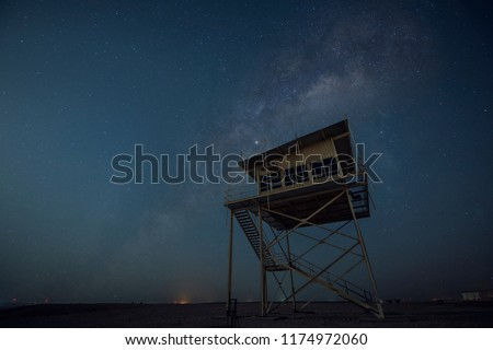 Milkyway  Wooden Tower in Deseret land of Qatar with Galaxy Sky. Shot Taken Date 02 July 2018