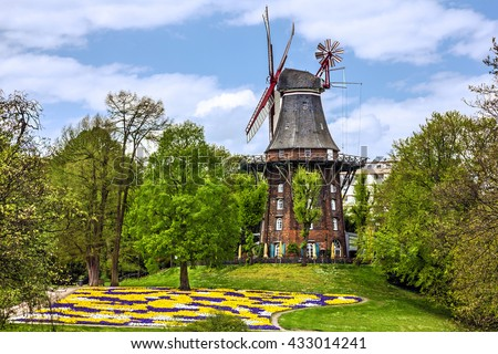 Mill, Bremen, Germany, green park