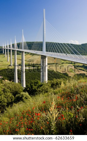 Millau Viaduct, Aveyron D?partement, France - stock photo