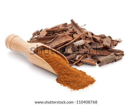 milled cinnamon isolated on white background
