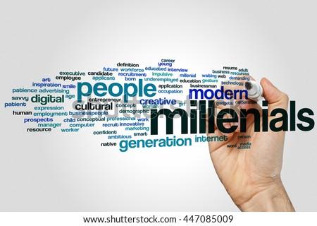 Millenials word cloud concept