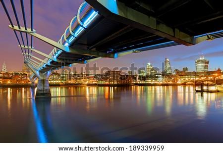 Stock Photo Millenium Bridge in London, England