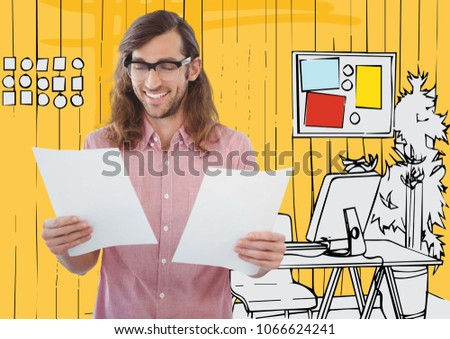 Millennial man with papers against yellow hand drawn office #1066624241