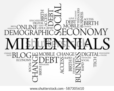 Millennials Word Cloud Social Concept collage background