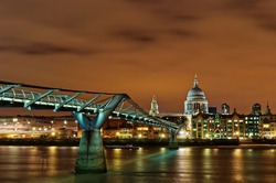 Millennium Bridge and St. Paul's Cathedral at Night, London, England