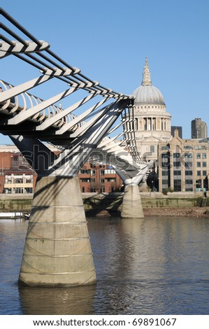 Millennium Bridge over River Thames to St Pauls Cathedral in London