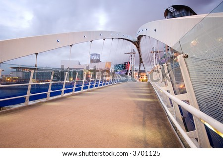 Millennium Bridge Salford Quays - stock photo