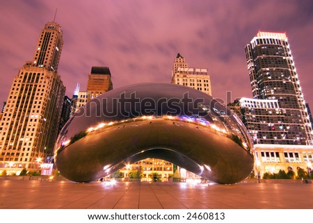 Millennium Park at night, Chicago, IL