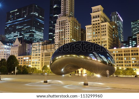 Millennium Park, Chicago. Cloud Gate, also known as the Bean is one of the parks major attractions/