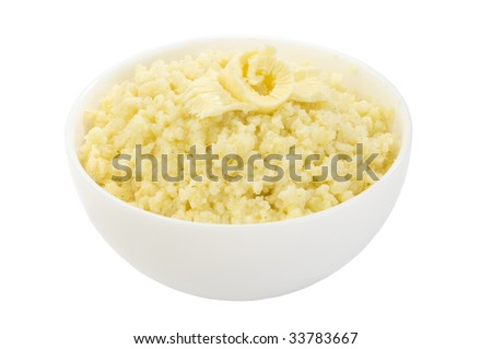 Millet porridge decorated with butter isolated - stock photo
