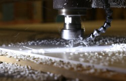 Milling plastic cutting. Close-up, beautiful background.