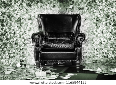 millionaire rich leather luxury seat on money banknote mountain background for rich man or money game concept Stock photo ©