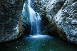 Millomeri waterfalls in Platres near Troodos, Cyprus.