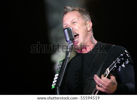 MILOVICE, CZECH REPUBLIC - JULY 19: Frontman of American metal group Metallica James Hetfield at Sonisphere festival on July 19, 2009 in Milovice, Czech republic.