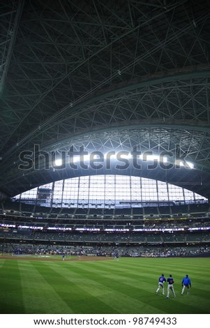MILWAUKEE - APRIL 24: The Brewers prepare to battle the Chicago Cubs under a closed dome at Miller Park on April 24, 2010 in Milwaukee, Wisconsin. The park opened in 2001 at a cost of $400 million.