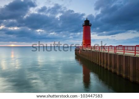Milwaukee Lighthouse. Image of the Milwaukee Lighthouse at sunrise.