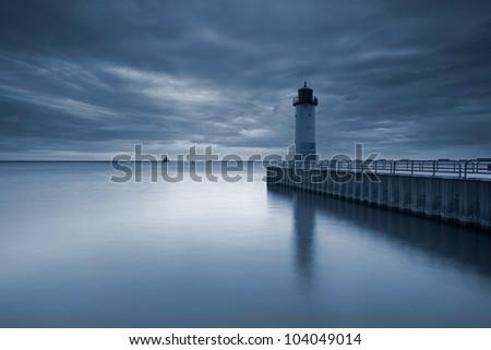 Milwaukee Lighthouse. Toned image of the Milwaukee Lighthouse at sunset.
