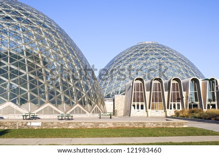 MILWAUKEE, WISCONSIN - NOVEMBER 24: Mitchell Park Domes on November 24, 2012 in Milwaukee. The conservatory consists of three conoidal-shaped domes that welcome 200,000 visitors annually.