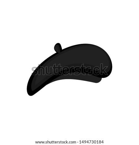 Mime black beret isolated. Mimic Cap.