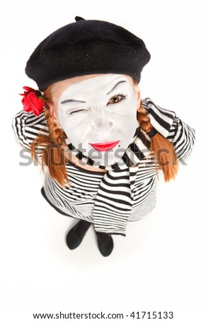 Mime comedian portrait isolated on white background