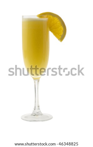 Mimosa mixed drink with orange slice garnish on a white background