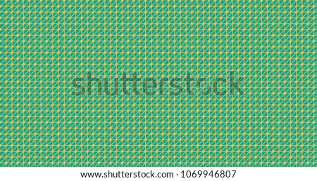 Mimosa yellow on arcadia color triangle network with nodes pattern ornament decorative background with geometric shapes. Colorful wrapping paper or backdrop. #1069946807