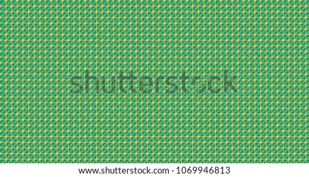 Mimosa yellow on emerald color triangle network with nodes pattern ornament decorative background with geometric shapes. Colorful wrapping paper or backdrop. #1069946813