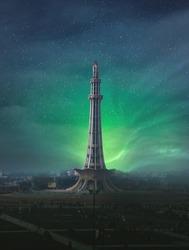 Minar e Pakistan Lahore in Northern Lights Aurora