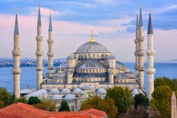 Minarets and domes of Blue Mosque with Bosporus and Marmara sea in background, Istanbul, Turkey