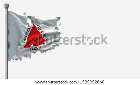 Minas Gerais 3D tattered waving flag illustration on Flagpole. Isolated on white background with space on the right side.
