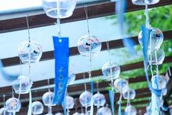 Minase Shrine at the wind chime festival. Scenery of a Japanese summer shrine.