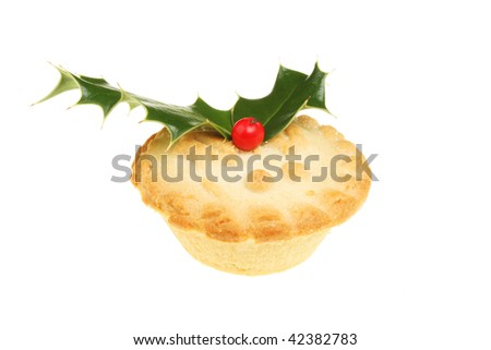 Mince pie decorated with a holly sprig