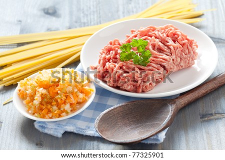 minced meat and vegetables for bolognese sauce