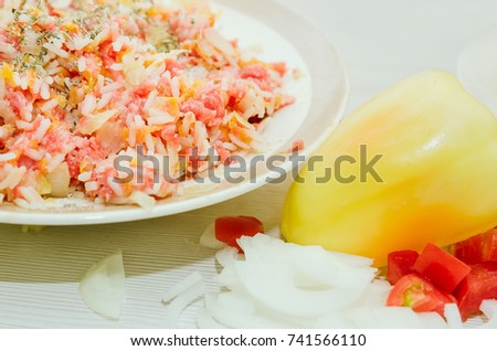 Minced meat from raw meat with rice and spices, fresh vegetables. Homemade food. Homemade cooking. #741566110