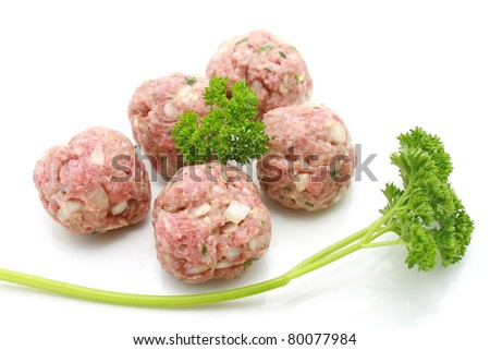 minced meat meatball isolated over white
