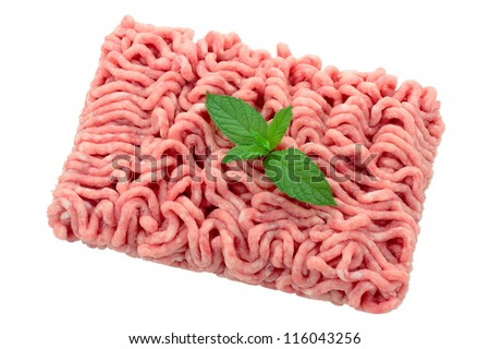 minced pork and veal for burgers with sheet of mint cropped and isolated