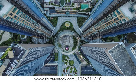 Mind-blowing drone shot of the amazing architecture in Asia. Aerial photography from Hongkong.
