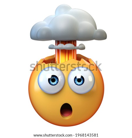Mind blown emoji, exploding head emoticon on white background, 3d rendering Foto d'archivio ©
