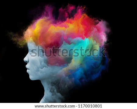 Mind Fog series. Arrangement of 3D rendering of human face morphed with fractal paint on the subject of inner world, dreams, emotions, imagination and creative mind