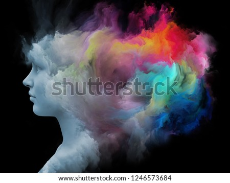 Mind Fog series. 3D rendering of human face morphed with fractal paint on the subject of inner world, dreams, emotions, creativity, imagination and human mind