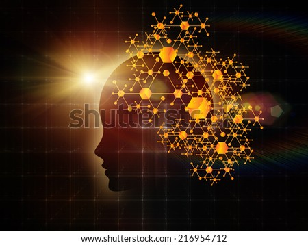 Mind Geometry series. Composition of Human profile, math and design elements on the subject of reason, science, technology and education