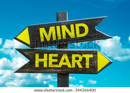 Mind - Heart signpost with sky background