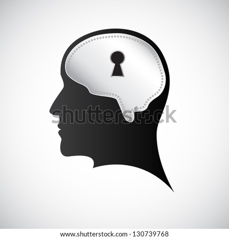 Mind keyhole. Raster version of the loaded vector - stock photo