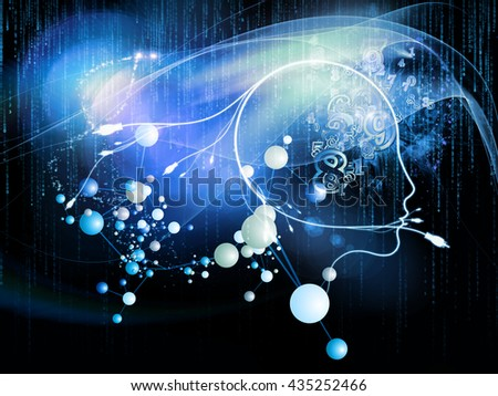 Mind Plug series. Arrangement of human profile, connections and numbers on the subject of information technology, internet and artificial intelligence