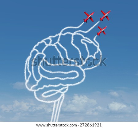 Mind possibility or thinking possibilities concept as a group of air show acrobatic air planes flying in the sky creating a human brain shape with smoke as a business success icon or learning symbol.