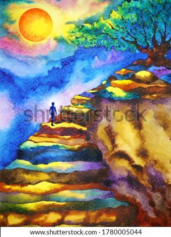 mind spiritual human meditation on mountain abstract art watercolor painting illustration design drawing