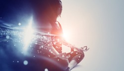 Mindfulness meditation concept. Meditating young woman. Yoga. Concentration.